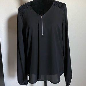 Black top, lacy shoulder, silver zipper